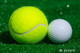 Tennis ball and golf ball Wall Mural • Pixers® - We live to change